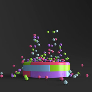 3D model balls falling pool