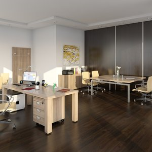 3D model indoors room desk