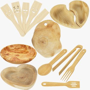 3D kitchen utensils wooden v2