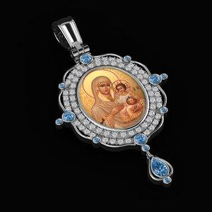 beautiful virgin mary pendant 3D model