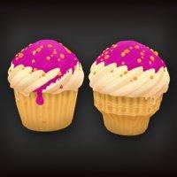 low-poly set cupcakes model