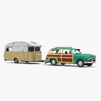 classic car caravan 3D model