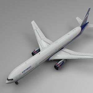 3D aeroflot boeing 777-300er l523 model