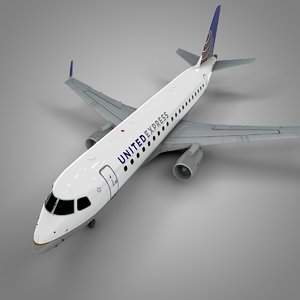 united express embraer175 l522 3D model