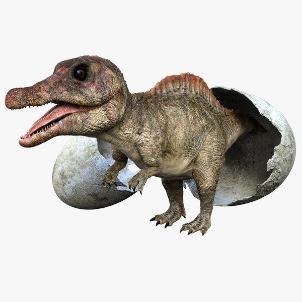 realistic dinosaur rig 3D model