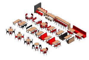 3D revit furnitures restaurants tables model