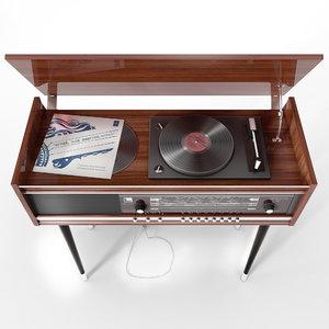 3D model old radio set