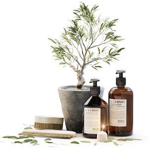 3D tiny bonsai olive tree