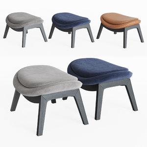 3D calligaris lazy armchair ottoman model