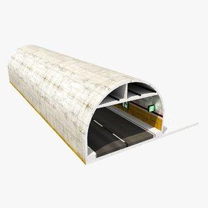 road tunnel cutaway 3D