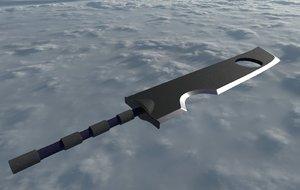 sword zabuza naruto 3D model