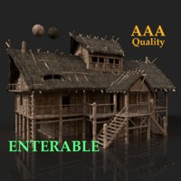 3D aaa medieval slavic wooden model