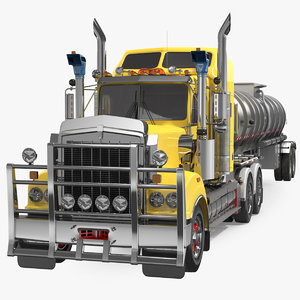 3D model vintage semi truck tank