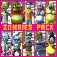 cartoon zombie pack unity model