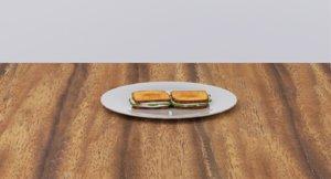 3D labneh cucumber sandwich
