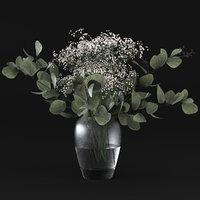 grass flowers eucalyptus 3D model