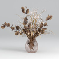 Bouquets of dried eucalyptus with flowers and grass