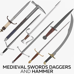 medieval swords daggers hammer 3D model