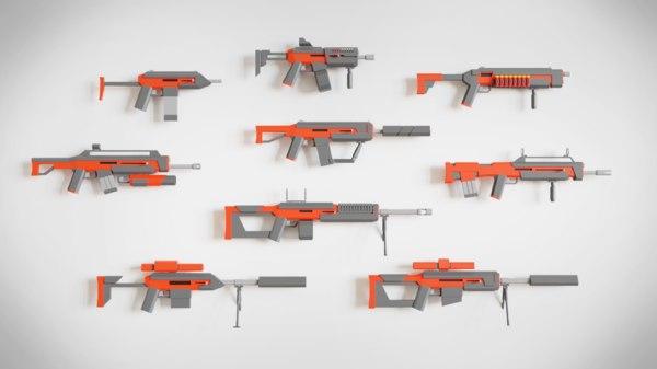 asset pack guns rifles 3D model