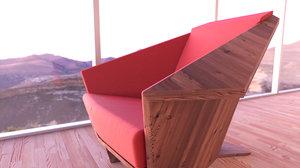 taliesin armchair seating chair 3D
