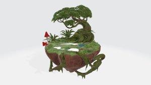 3D model create tropical scene