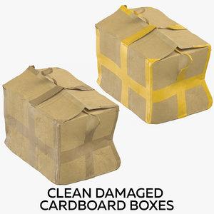 3D model clean damaged cardboard boxes