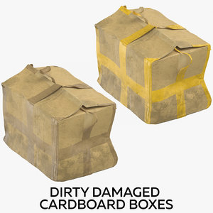 dirty damaged cardboard boxes 3D