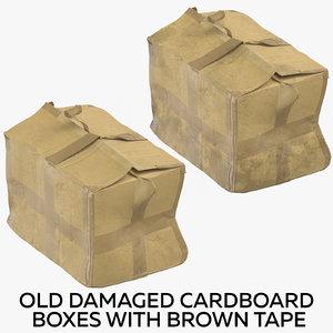 3D old damaged cardboard boxes
