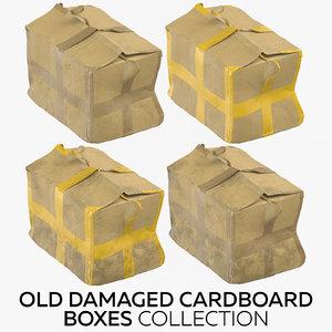 old damaged cardboard boxes model