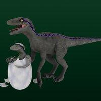 velociraptor baby 3D