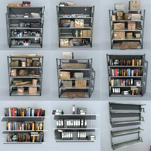 metal shelving clutter 3D