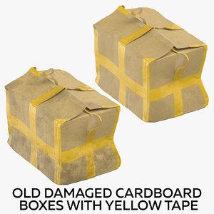 3D old damaged cardboard boxes model