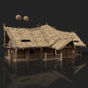 3D aaa medieval slavic wooden