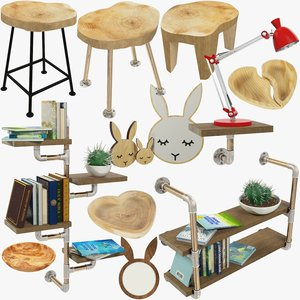 loft furniture accessories v1 3D model