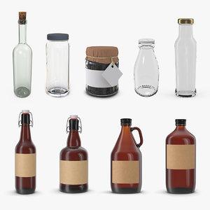 3D model glass bottles 3