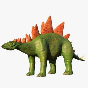 3D stegosaurus dinosaur animal
