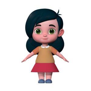 3D girl cute cartoon model