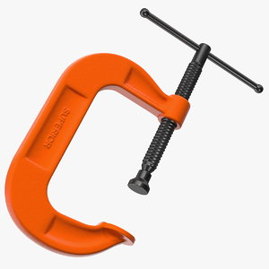 3D forged orange c-clamp clamping model