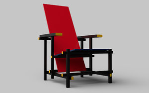 iconic cassina 635 red blue 3D