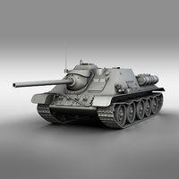 3D model su-85 - soviet self-propelled