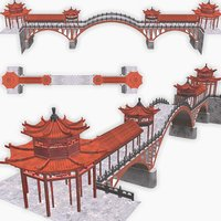 3D asian chinese bridge pavilions model