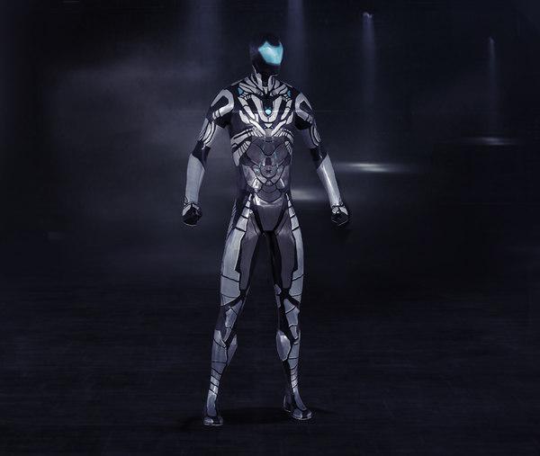 3D futuristic cyborg nano suit