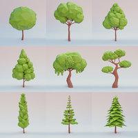 Tree set lowpoly