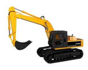 3D model excavator digger