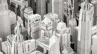 Cyberpunk modern low poly sci-fi skyscrapers Low-poly 3D model