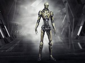3D robo skeleton cyborg character