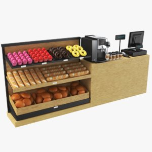 3D real bakery display cash model