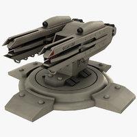 sci fi laser turret 3D
