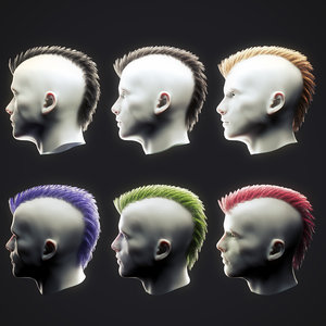 punk hairstyle 2 3D model