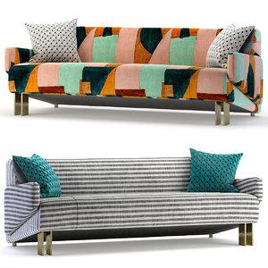 3D model banquette settee sofa